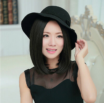 Women's Cosplay Short Straight Bob Synthetic Hair Party Wig New Black Full Wig
