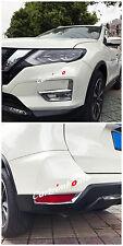 Chrome Front + Rear Fog light Lamp Cover trim 4pcs For Nissan Rogue X-Trail 2017