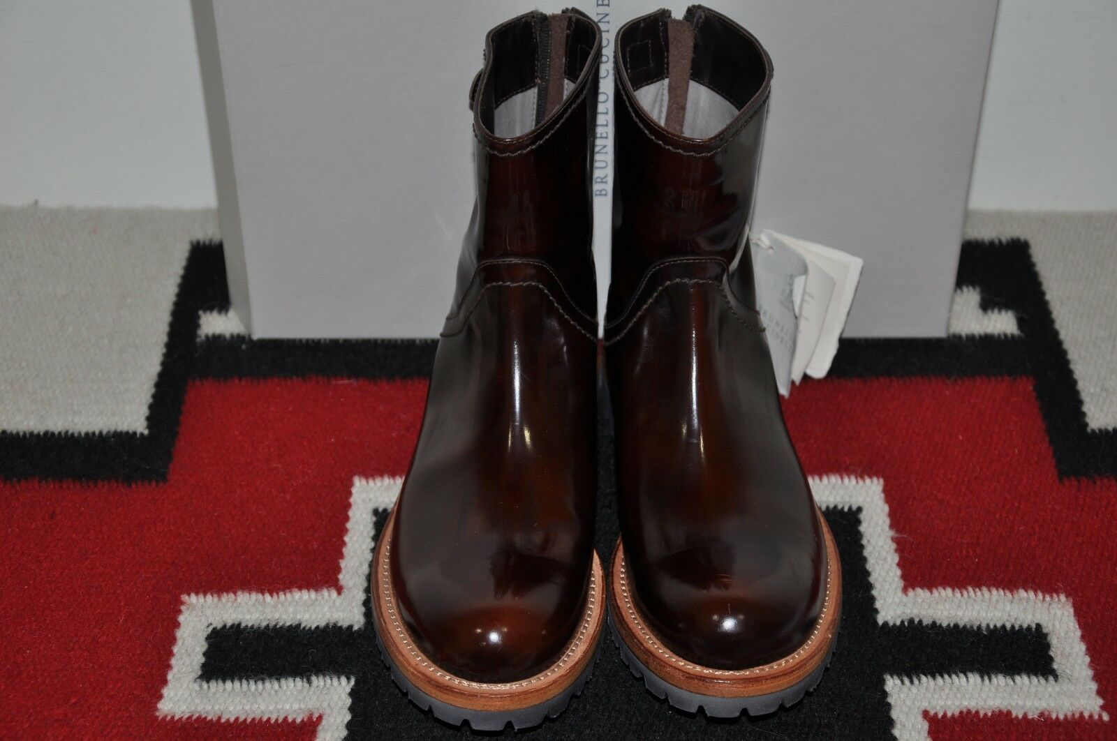 Brunello Cucinelli Made in Italy Military Style Leather Boots 37 US 7 D