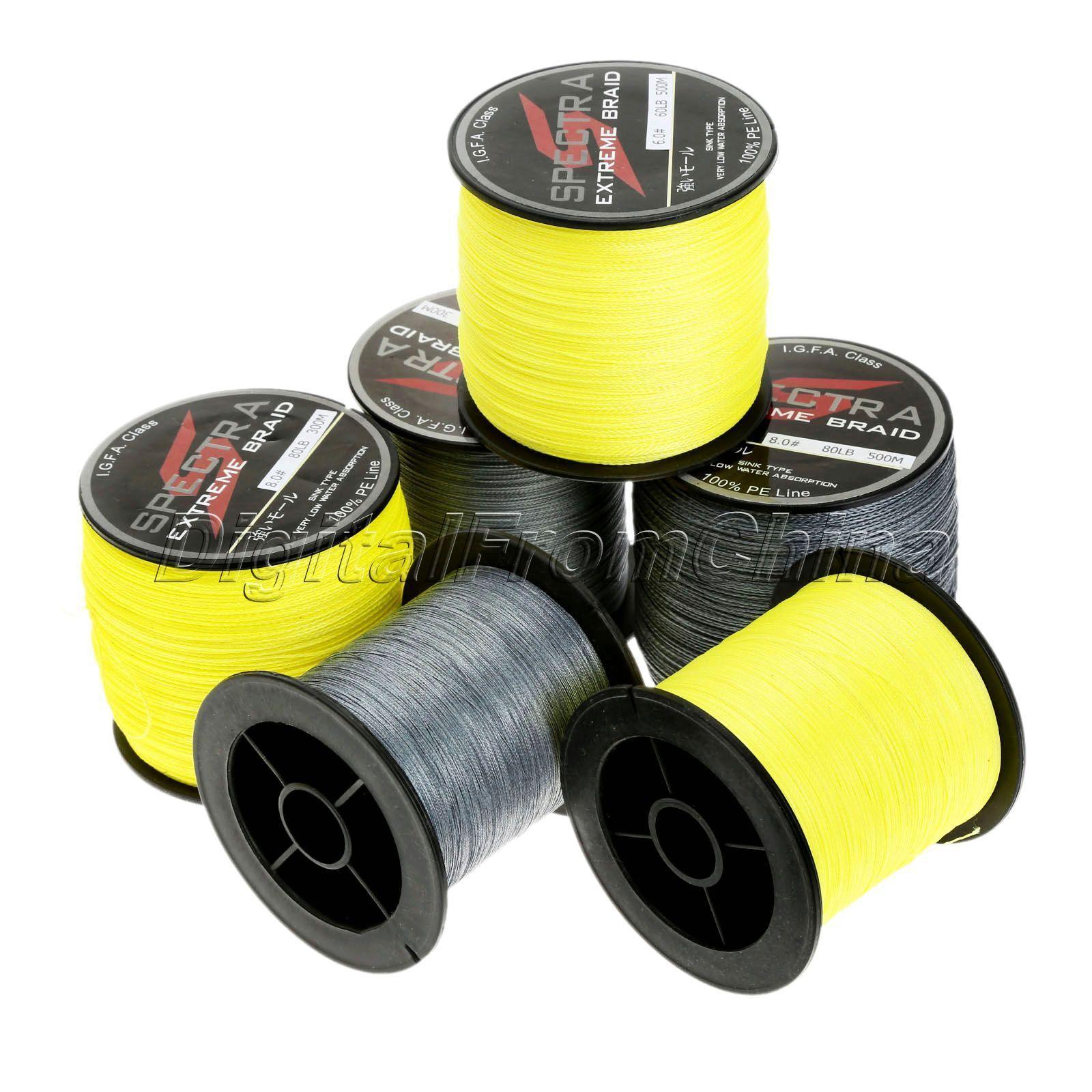 Grey   Yellow 300 500M Spectra PE Dyneema  Braid Spool Fishing Line Fluorescent  discount low price