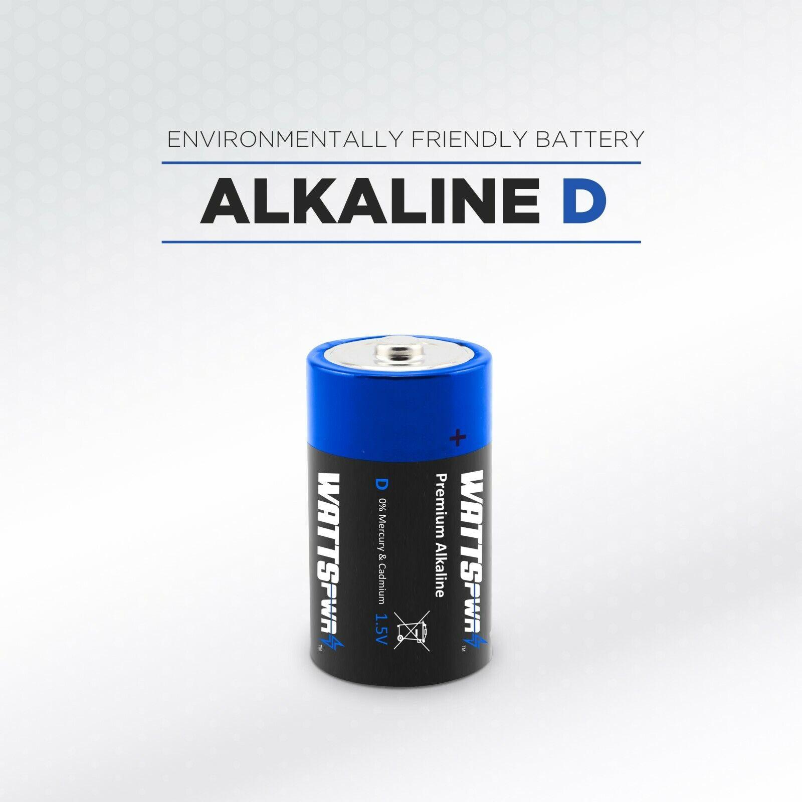 WATTSPOWER D Batteries, Alkaline (6,18,24 Battery Count)