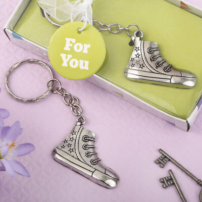 36-144 Silver Sneaker Design Metal Key Chain Baby Shower Birthday Party Favors