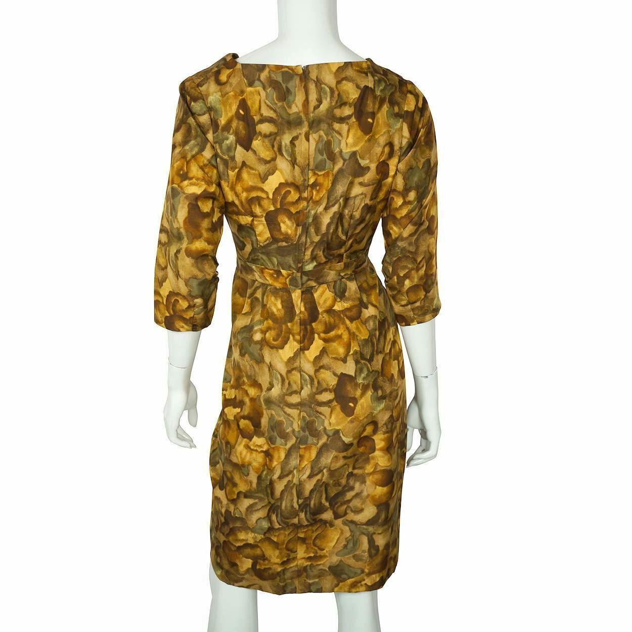 Vintage Ceil Chapman Wiggle Dress Abstract Leaf P… - image 3