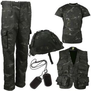 WORLD BOOK DAY BOYS ARMY COSTUME KIDS 3-13 TROUSERS T-SHIRT HELMET BLACK CAMO