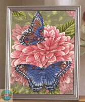Cross Stitch Kit Plaid-bucilla Butterflies & Pink Dahlia Flowers 45819