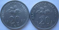 Malaysia 20 sen 1997 coin 2 pcs
