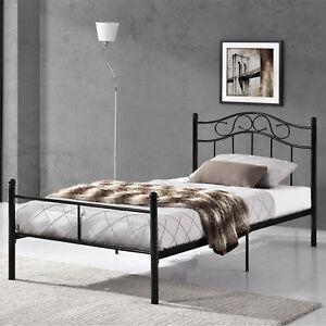 en.casa]® Metallbett 90x200 Schwarz Bettgestell Bett Schlafzimmer ...
