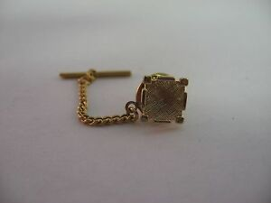 Gorgeous-Textured-Gold-Tone-Square-Design-Vintage-Mens-Tie-Tack-Jewelry-Pin