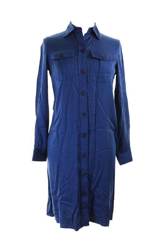 Anne Klein Rabe Blau Langarm Mit Gürtel Hemd Kleid 10