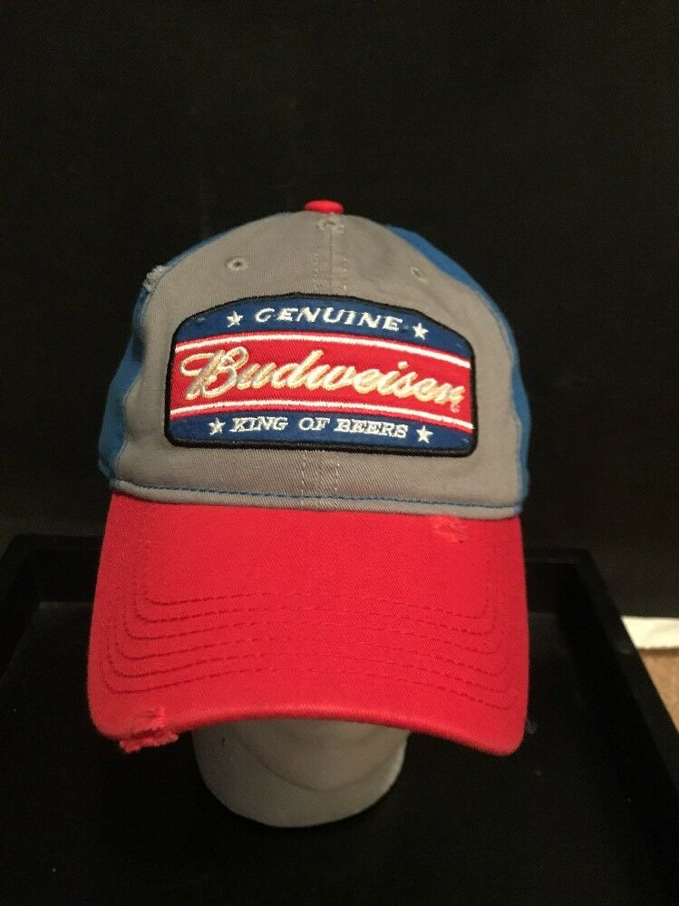 Budweiser King of Hat Beers Hat of Cap Gray And Blue Patch Distressed Snapback NWT 422da3