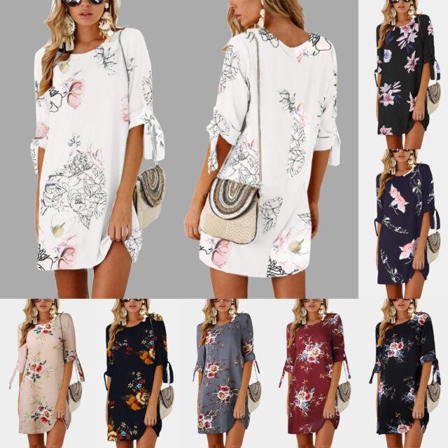 Women Floral Half Sleeve Long Blouse Tops Summer Beach Tunic T Shirt Mini Dress