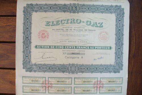 "ANCIENNE  ACTION  /""  ELECTRO GAZ FRANCE    /""  1927 ...."