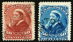 Canada-46-20c-Vermillion-and-47-50c-Deep-Blue-1893-Used