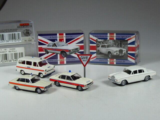 Wiking Brekina Reino Unido Colección 1 87 - escala, Ford Granada, Tránsito, Policía Rover P6