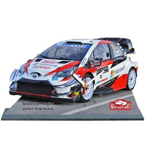 en horloge sur socle Sébastien Ogier Rallye Monte Carlo 2020,Toyota Yaris WRC
