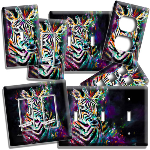 COLORFUL ZEBRA LIGHT SWITCH OUTLET WALL PLATE COVER ART STUDIO ROOM HOME DECOR
