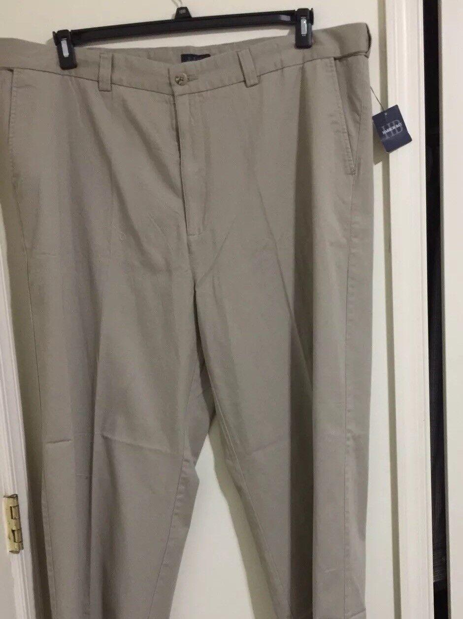 HARBOR BAY Hidden Waist Relaxer Pleated 100% Cotton Khaki Pant 42x34 NWT