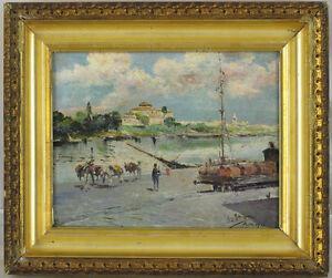 Manuel-Garcia-y-Rodriguez-1863-1925-Spanish-Antique-Original-Oil-Guadalquivir
