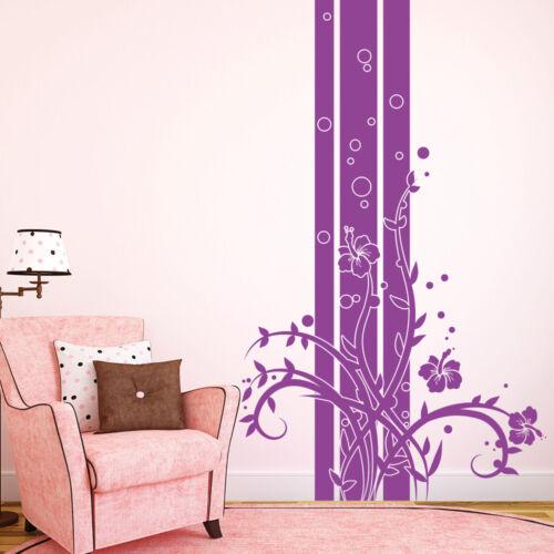 10736 Wandtattoo Loft Aufkleber Hibiskus Ranke Blumen Blüten Design Streifen