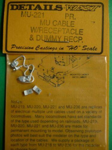 HO Details West #MU 221 MU Cable w//receptacle /& Dummy Receptacle