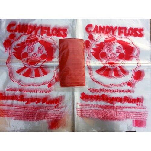 Candy Floss bolsas 1x1000pc con lazos, bolsas de plástico, Candy Floss, Floss, Candy algodón de azúcar, 97c484