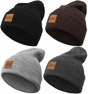 URBAN CLASSICS LEATHERPATCH LONG BEANIE Winter Mütze Heavy Ski Jersey Basic Flap