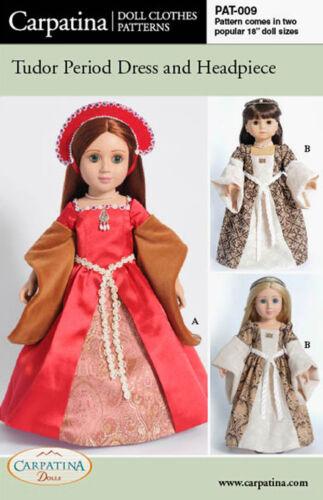 "Tudor Dress Doll Clothes Pattern multi sized for 18/"" American Girl /& Slim Dolls"