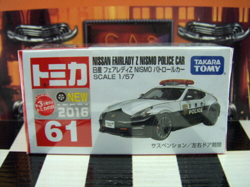 TOMICA #61 NISSAN FAIRLADY Z NISMO POLICE CAR 1/57 SCALE NEW IN BOX