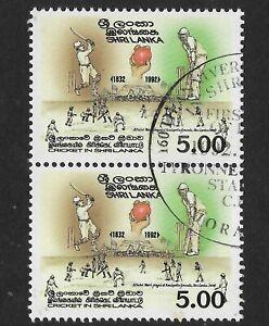 SRI-LANKA-1992-160th-ANNIVERSARY-of-CRICKET-1v-PAIR-USED-CTO
