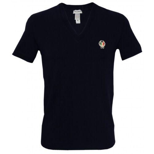 Dolce /& Gabbana Sport Crest Deep V-Neck Men/'s T-Shirt Navy