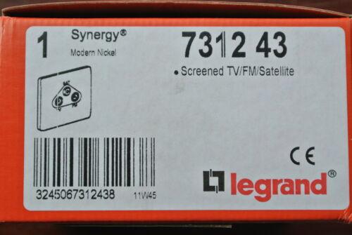 Legrand 7312 43 blindé triplexer Sky//satellite//TV//FM Socket 1 G nickel satiné