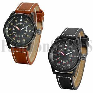 Men-039-s-Unique-12-24h-Dial-Leather-Band-Army-Infantry-Analog-Quartz-Wrist-Watch