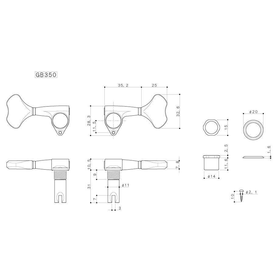 Nuevo Gotoh GB350 res-o-lite de aluminio bajo bajo bajo llaves de afinación de 4 Cuerdas L2+R2 Set-Negro 307d72
