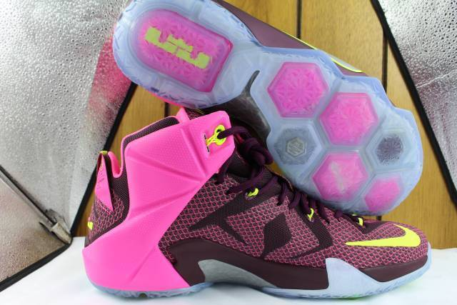 33542d8eecd Nike Lebron XII 12 Double Helix Basketball Zoom Shoes Merlot Pink POW  Silver 11 for sale online