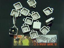 20 X Piccolo Antico Argento Quadrato Cameo Cabochon base impostazione Ciondoli