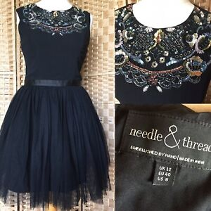NEEDLE-AND-THREAD-Black-Embellished-Collar-FOLK-PROM-DRESS-Sz-12-Christmas-B15