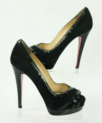 Very Louboutin Christian Vitello vernice Suede Uk Nero 140 Jaws 37 4 Tacchi 4BHxCHnqw