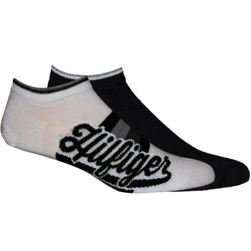 "Tommy Hilfiger 2-Pack /""HILFIGER/"" Chaussettes Sneaker Hommes Noir//Blanc"