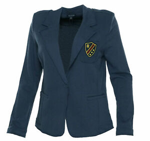 Tommy-Hilfiger-Women-039-s-Patched-One-Button-Blazer-Blue