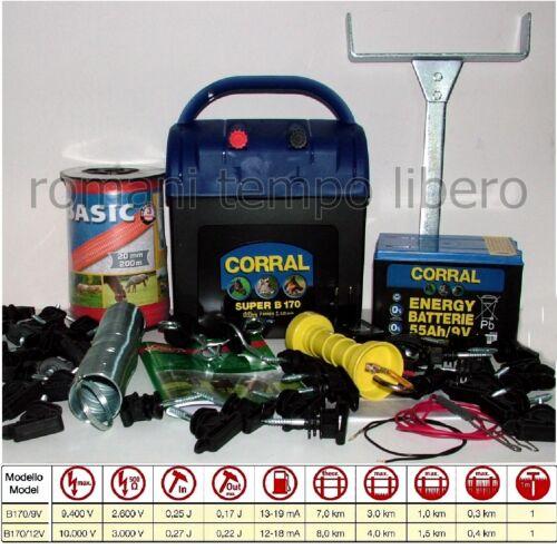 RECINTO ELETTRICO SUPER CORRAL B170 CON FETTUCCIA da 20 mm.BATTERIA ed ACCESSORI