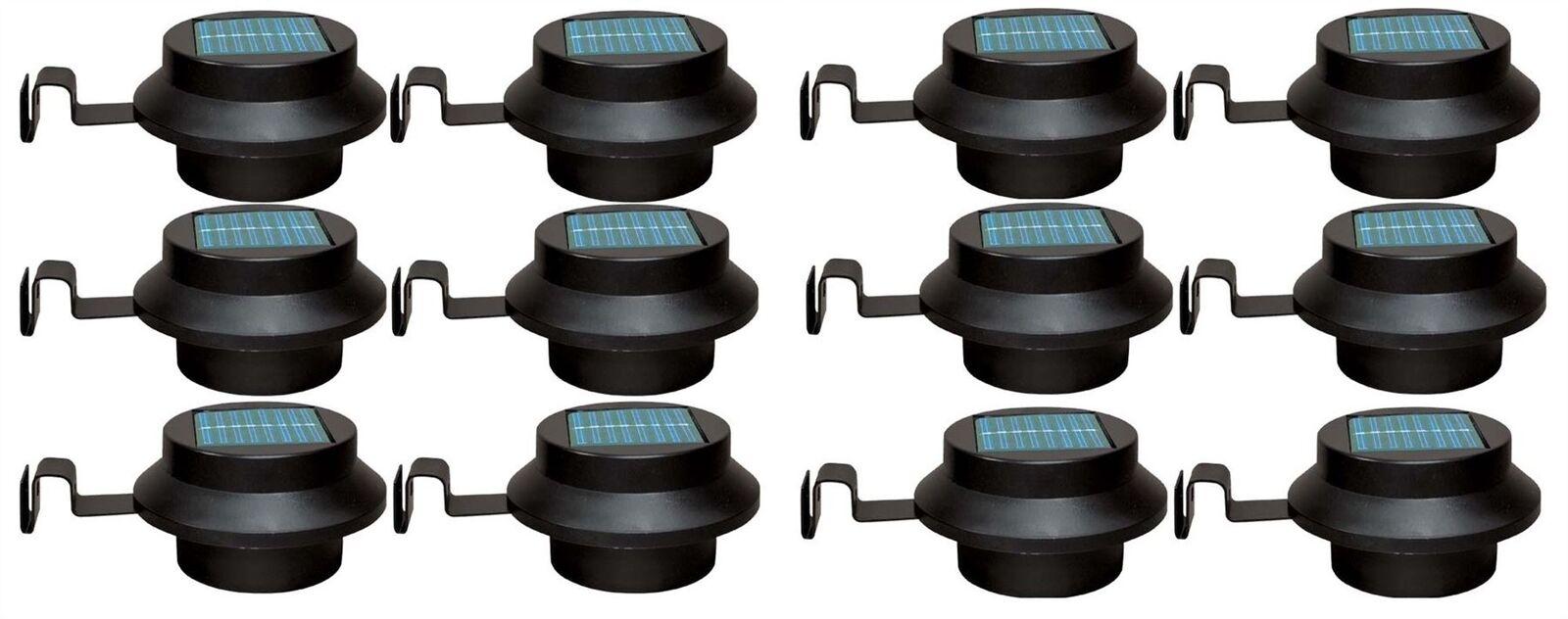 New 12pc schwarz LED Gutter Light Solar Power Outdoor Waterproof Security Flood