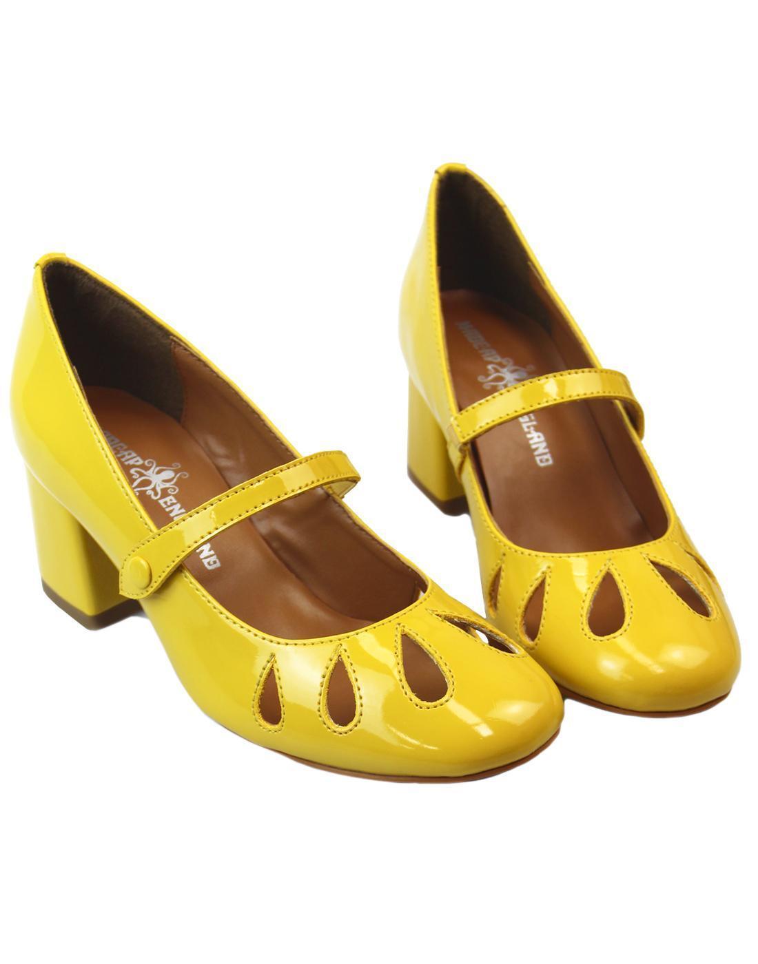 NEW  Damenschuhe RETRO 60s 60s RETRO Schuhe HEELS MOD Vintage Madcap England YELLOW MARY JANE c4aec5