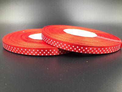New 100 Yards Charm 3//8 10mm Polka Dot Ribbon Satin Craft Supplies MixColor