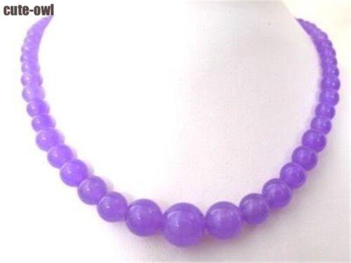 Fashion Gradually 6-14 MM Purple Round Jade Gems Beaded Necklace AAA+