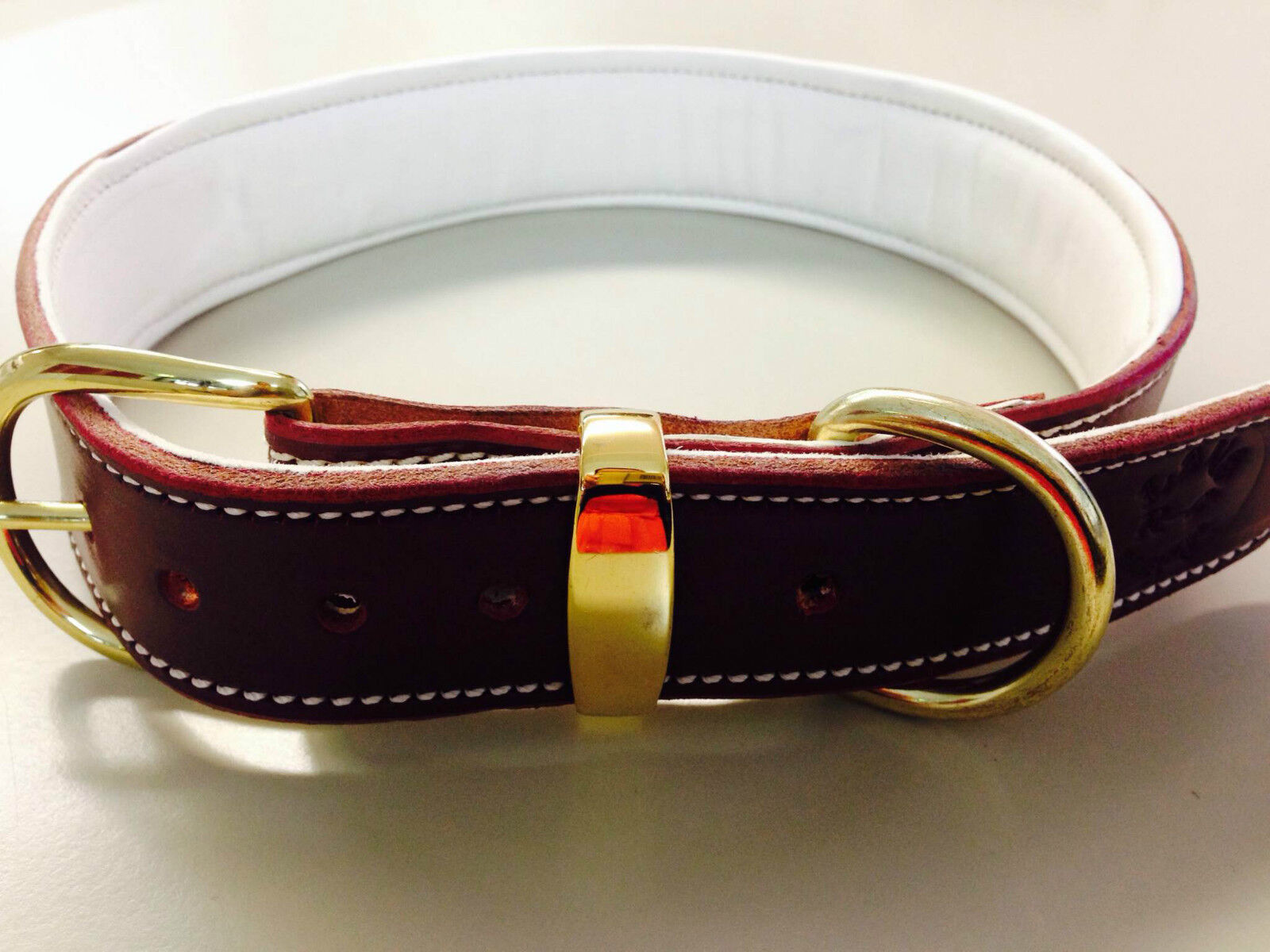 X-Large Marronee Leather Dog Collar & Lined Soft Pure bianca bianca bianca Leather & Brass Buckle 0b0bd2