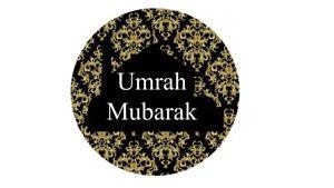 Details about 35 Umrah Mubarak Stickers Black Damask Congratulations Umrah  Islamic Muslim 219