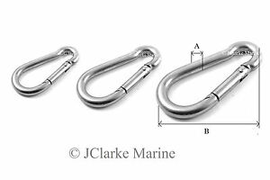 A4 Marine Grade Stainless Steel Carabiner Spring Hook Snap Clip