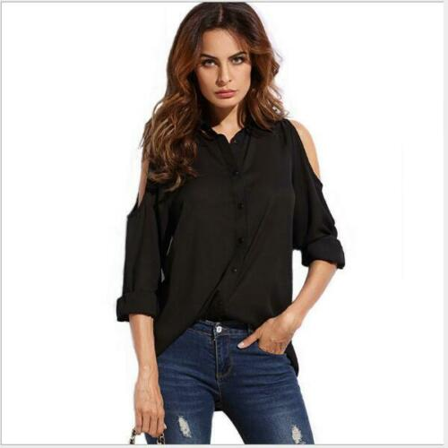 Women Blouse Casual Shirt Tops Clothing Office Long Sleeve V-neck Loose