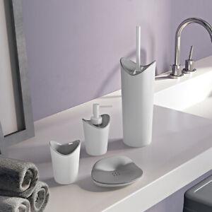 Set accessori bagno da appoggio in resina bianca e grigia Gedy linea Moby