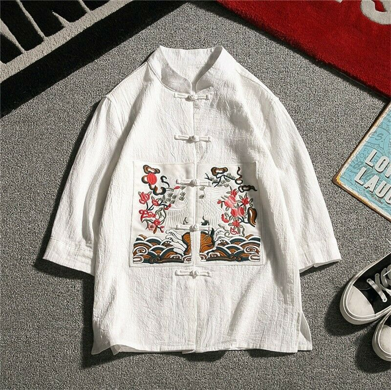 Mens Ebroidery Floral Fashion Stand Collar Cotton Spring Coat Tops High Quality